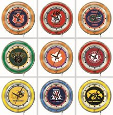 "Choose Your NCAA College A - J Team 19"" Round Chrome Double Neon Ring Wall Clock"