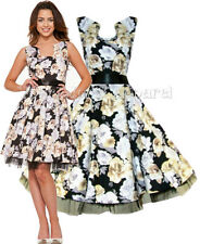 H&R LONDON BLACK FLORAL DRESS PINUP SWING 50's HOUSEWIFE VINTAGE ROCKABILLY 2061