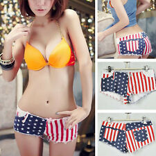1 Girl Women Party Cotton Pole Dancing Stars and Stripes Low Waist Jeans Shorts