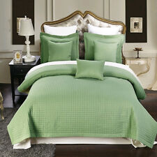 Sage Checkered Multi-Piece Coverlets Quilted Set  Wrinkle Free Microfiber
