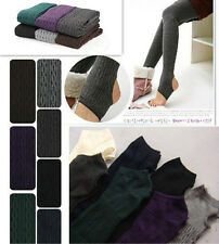 Winter Warm Cotton Knit Thick Stretchy Pantyhose Tights Pants Stirrup Leggings