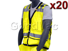 Pack of 20 Majestic High Visibility Mesh Safety Vest ANSI ISEA 107-2010 Class 2