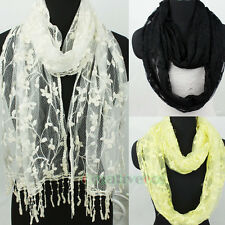 Elegant Embroidery Floral Lace Trim Tassel Mantilla Infinity Scarf/Oblong Scarf