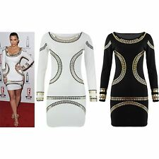 Womens Plus Big Size Mini Dress Kim Kardashian Gold Foil Bodycon Party Tunic Top