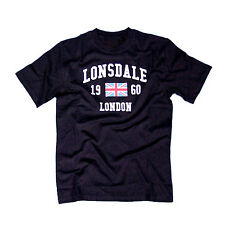 Rare: Lonsdale Navy Blue T-Shirt MADDOX 1960 Union Jack Flag Slim-Fit 60% Cotton