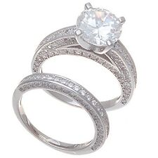 14K WHITE VERMEIL 3 SIDED ENCRUSTED CUBIC ZIRCONIA ENGAGENENT SET RING-925/SS-