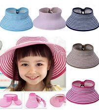 Grils Kids Summer Topless Straw Hat Cap Bowknot Elastic Wide Brim Floppy 7colors