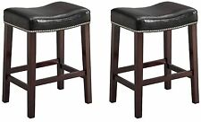 """Faux Leather and Wood Saddle Stool Chair Black 2 Per Box 24"""" & 29"""" Inches"""