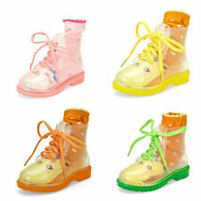Kids Boys Girls FLAT CLEAR FESTIVAL JELLY WELLIES LOW ANKLE RAIN BOOTS SHOES