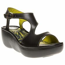 New Womens Fly London Black Bianca Leather Sandals Platforms Buckle