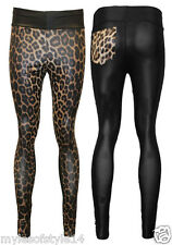 New Womens Animal Leopard Print Panel Wet Look Shiny Fit Trouser Casual Leggings