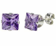 Sterling Silver Square Purple CZ Cubic Zironia Stud Earrings February Birthstone
