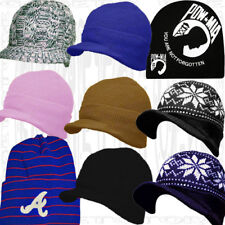 Acrylic Brim Knit Black Stocking Beanie Skull Cap Winter Visor Hat Men Women