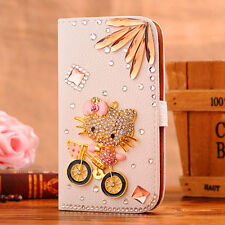 3D Hello kitty Bling Flip Wallet PU Leather Stand Case Cover For Samsung Apple