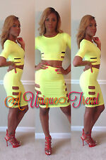 Sexy 2PC Pencil Skirt & Crop Top Set Bodycon Dress Clubwear