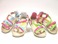 Toddler Girls Sandals Strappy Braided Multi Color Sz 3-11  White - Pink