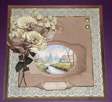 Handmade Greeting Card 3D All Occasion With A River Scene And Roses