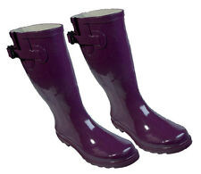 Purple Design Rubber Gumboots Size 6 7 8 9 10 11 Wellies Ladies Boots *New*