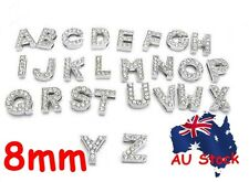 8mm A-Z Personalised Dog Pet Collar ID Name Tags Letter Rhinestone Slide Charm