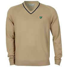 Lyle & Scott Green Eagle Men's Lightweight Golf Jumper Sweater Top beige 2095