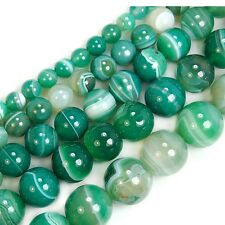 15.5 inch Green Striated Agate Gemstone Round Beads 4mm 6mm 8mm 10mm 12mm 14mm