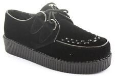 WOMENS LADIES BLACK WEDGE BOOTS PLATFORM LACE UP GOTH PUNK CREEPERS SHOES SIZE