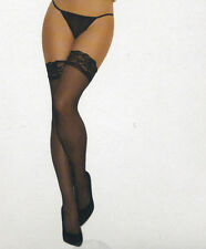 Sheer Lace Top Thigh High Stockings Black Size Reg or Plus Size XL Queen EM 1721