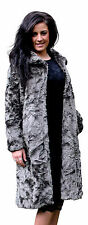 WOMENS TEXTURED FAUX FUR FUNNEL NECK EVENING COAT NEW MADE IN UK 10 - 20
