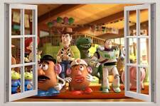 TOY STORY 3D Window View Decal WALL STICKER Home Decor Art Woody Buzz Wallpaper