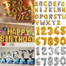 "16"" 40"" Silver Gold Helium aluminum Foil Number 0-9 Balloon Party Wedding Decor"