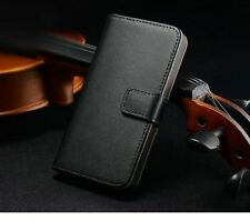 Genuine Luxury Real Leather Flip Wallet Case Stand Cover For Apple iPhone 5 5S