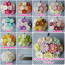 25 Mix Color Mulberry Paper  Aster Flowers of Wedding Roses : 25mm.