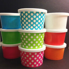 100 - Small 4oz. paper Hot and Cold Cup  WITH LIDS  Ice cream, desserts, treats