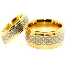 Matching 6mm & 9mm 18K GP Tungsten with Celtic Love Knot Inlay Wedding Band Set