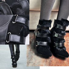 VOGUE WOMENS MULTI BUCKLE WITH BIG FUR EXTREME HIGH WEDGE HEEL HEELS ANKLE BOOTS