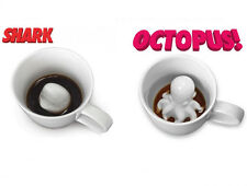 3D Octopus / Shark Inside Porcelain Coffee Mug Tea Cup Funny Novelty Gag Gift