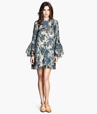 H&M Conscious Exclusive Petrol Blue Patterned Frilled Tunic Dress UK 8 10 12
