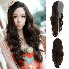 New Fashion Black/Brown 3/4 Half Wig Full Long Curly Wavy Hair Wigs Clips in