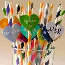 25Pcs Colorful Paper Drinking Straws Biodegeadable Striped Vintage Wedding Party
