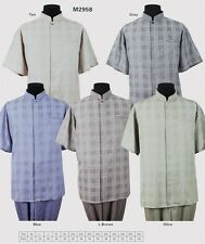 Men's Mandarin Collar /Banded Collar Short Sleeve Shirt Set by Milano Moda2958
