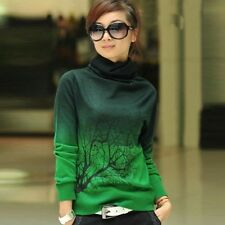 Women Winter Twig Print Turtleneck Bottoming Shirt Knitwear Cashmere Sweaters