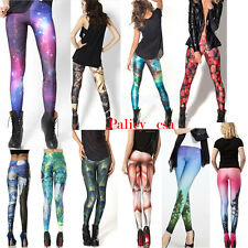 Stretchy Black Galaxy Star Space Cosmic Fashion Rock Tights Leggings Pants New