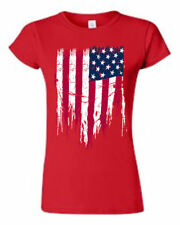 JUNIORS PATRIOTIC T-SHIRT Painted USA AMERICAN FLAG RED WHITE BLUE PRIDE S-2XL