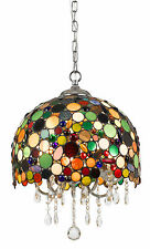 Tiffany Stained Glass Crystals Pendant Light Fixture Chandelier Hanging Lamp