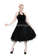 BLACK HALTER DRESS FLOCKED SWALLOWS STARS PINUP 1950's HOUSEWIFE 6456 H&R LONDON