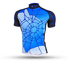 Men Cycling Jersey Clothing Bicycle Shirt Top Spider Bike Short Sleeve Wear Blue