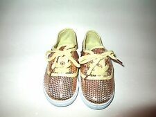 NEW GIRLS MAN MADE SNAKESKIN TENNIS SHOES GOLD SIZES: 11-4 GLITTER LACES V/SMART