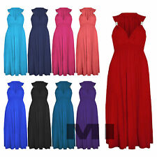 Womens Plus Size Sleeveless Summer Spring Coil Maxi Dress Beach Wear Boho 8-22