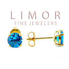 4MM 5MM 6MM 14K YELLOW GOLD STERLING SILVER BLUE TOPAZ ROUND SHAPE STUD EARRINGS