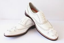 New Men's White Ferro Aldo Shoes Original Perforation Details Block Heel Lace Up